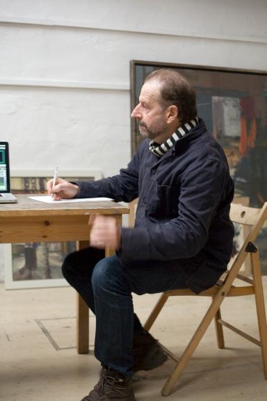 Jason Bowyer in his studio at the Kew Bridge Steam Museum.