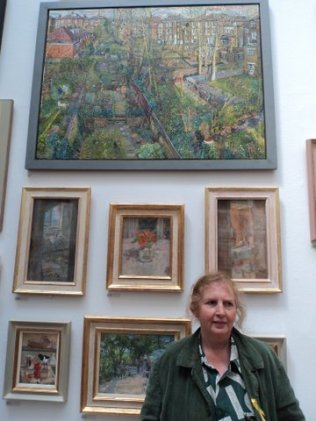 Melissa Scott- Miller and 'Holloway Back Gardens with Self portrait'