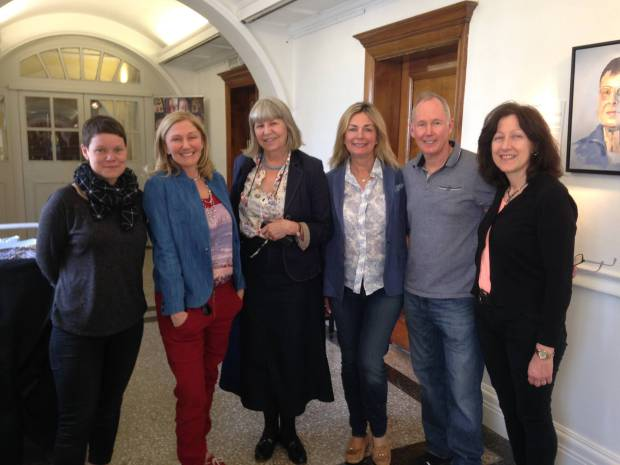 Daphne Todd OBE with Lots Road Group members Sarah-Jane Moon, Alla Broeksmit, Christine Klein, Mark Stevenson and Stella Tooth.