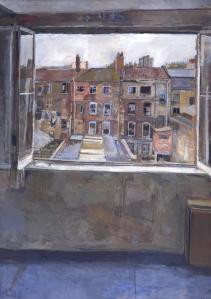 Open Window, Spitalfields 1976-81 by Anthony Eyton born 1923