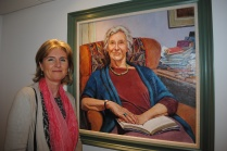 Katherine Frith with her portrait of Dame Gillian Beer