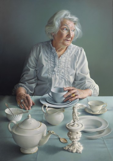 An Angel At My Table-oil on linen over panel 100 x 70 cm-Miriam Escofet